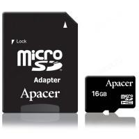 Карта MicroSD 16GB Apacer Class 10+адаптер