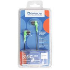 Наушники проводные Defender BASIC-604 Green вкладыши