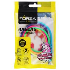 Кабель micro USB - USB 1м 2А FORZA 443-033 стикеры в комплекте, цвет радуга
