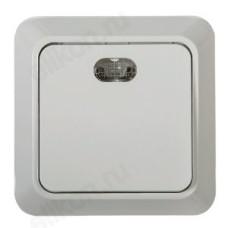 Выключатель одноклавишный с подсветкой BOLLETO белый накладной 7121 IN HOME