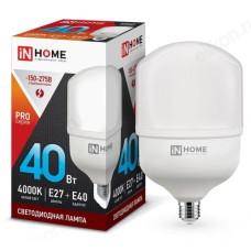 Лампа светодиодная 40Вт 230В Е27 с адаптером E40 4000К 3600Лм IN HOME