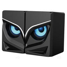 Акустика 2.0, 10W, Qumo Rage AS005, объемн звуч, синяя подсв (отключаемая), USB+Jac 3,5