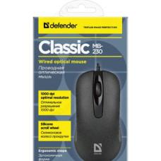 Мышь Defender провод Classic MB-230 3кн,1000dpi черный