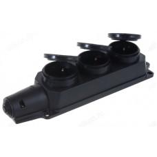 Розетка тройная с/з каучук с заглушками 16А IP44 черная 9323 IN HOME