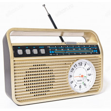 "Радиоприёмник "" БЗРП РП-332"" , УКВ 87-108МГц, акб 1200mA/h, USB/microSD/AUX/BT, механич.час"