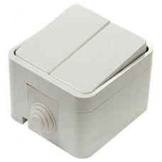 Выключатель двухклавишный IN HOME 3200 AQUA белый полугерметичный