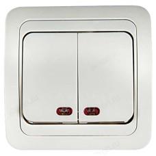 Выключатель двухклавишный с подсветкой IN HOME 2123 CLASSICO, белый