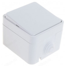 Выключатель одноклавишный IN HOME 3100 AQUA полугерметичный, белый