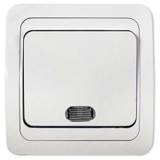 Выключатель одноклавишный с подсветкой IN HOME 2121 CLASSICO, белый