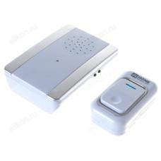 Звонок беспроводной IN HOME ЗБ-9, 38 мелодий, 150м, подсветка, кнопка, бело-серебряный