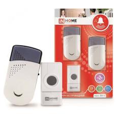 Звонок беспроводной IN HOME ЗБН-6, 32 мелодии, 2 динамика, 120м, с кнопкой IP44, бело-серый
