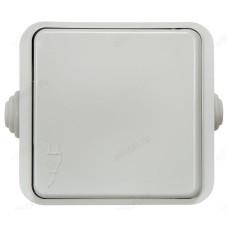 Розетка одинарная AQUA 3110 IN HOME с крышкой, белая, полугерметичная