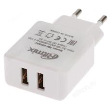 Зарядка сетевая RITMIX RM-2025AC 2USB white