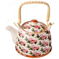 """Чайник заварочный керамический с плетёной ручкой 824-870 """"Роза"""" 900 мл"""
