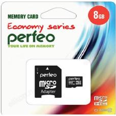 Карта MicroSD 8GB Perfeo Class10+адаптер